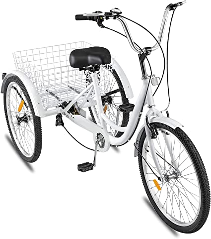Foldable Tricycle Adult 24/'/' Wheels Adult Tricycle 7-Speed 3 Wheel White Bikes