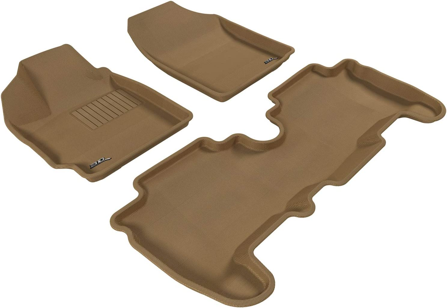 Tan 3D MAXpider All 2 Row Custom Fit Floor Mat for Select Scion XB Models Kagu Rubber
