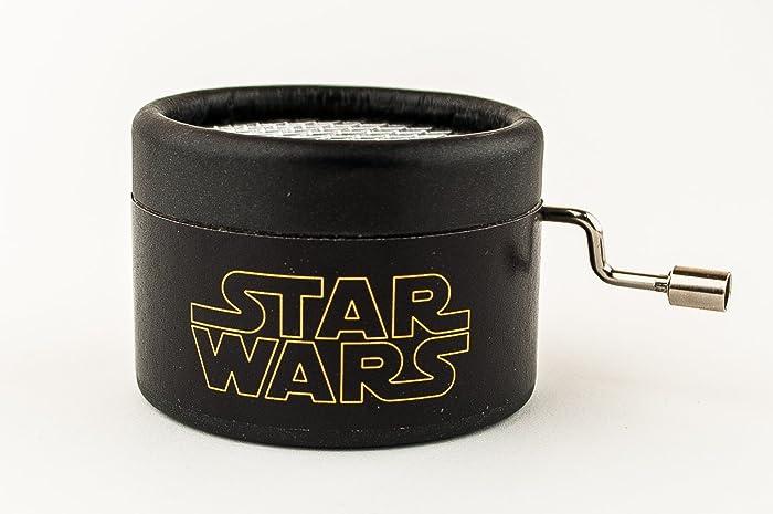 Caja de música Star Wars negra. Mecanismo musical de manivela con el tema principal de