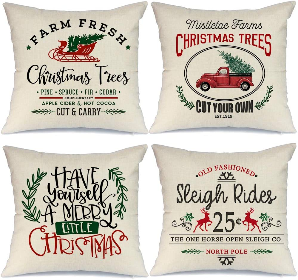 AENEY Farmhouse Christmas Pillow Covers 18x18 inch Set of 4 for Home Decor  Red Truck Christmas Decor Winter Holiday Rustic Farm Sign Christmas Pillows  ...