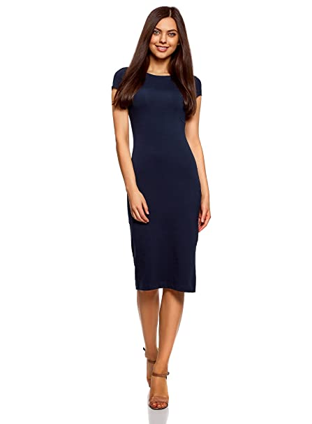 oodji Collection Damen Midi-Kleid mit Ausschnitt am Rücken, Blau, DE 32 /