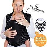 Écharpe de portage 100% coton - noir - porte-bébé de haute qualité pour nouveau-nés et bébés jusqu'à 15 kg - incl. sac de rangement et bavoir bébé OFFERTS - design adorable de Makimaja®