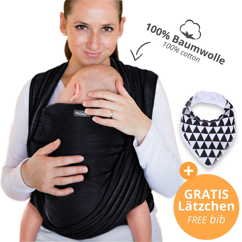 Écharpe de portage 100% coton - rose - porte-bébé de haute qualité pour nouveau-nés et bébés jusqu'à 15 kg - incl. sac de rangement et bavoir bébé OFFERTS - design adorable de Makimaja®
