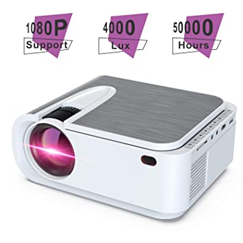 Mini Projector,4000 Lux Home Movie Projector,200 Display HD LCD Projector 1080P Supported,Work with Phone, PC, Mac, TV Stick, PS4, HDMI, USB for ...