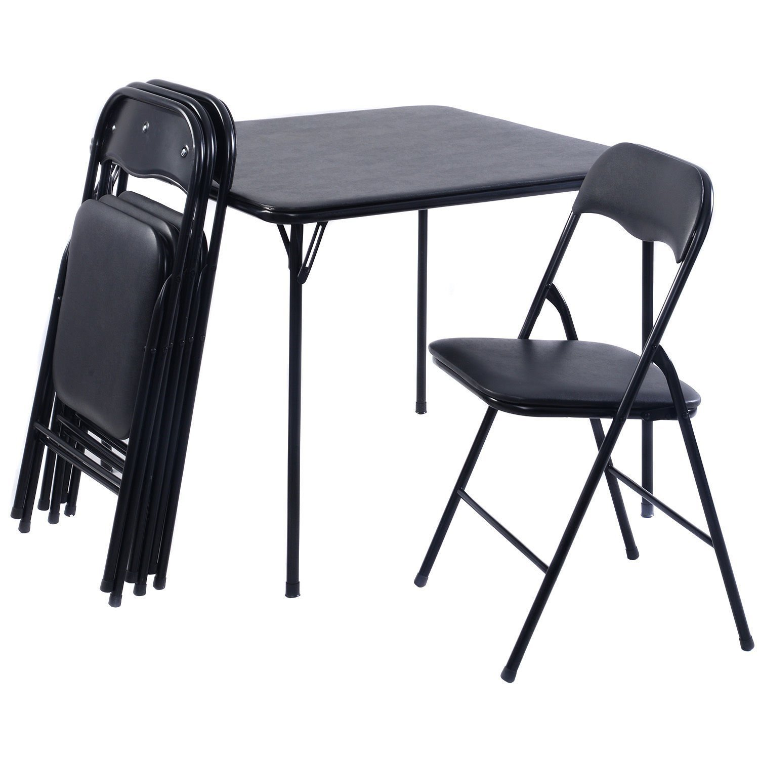 Amazon Giantex 5PC Black Folding Table Chair Set Guest Games
