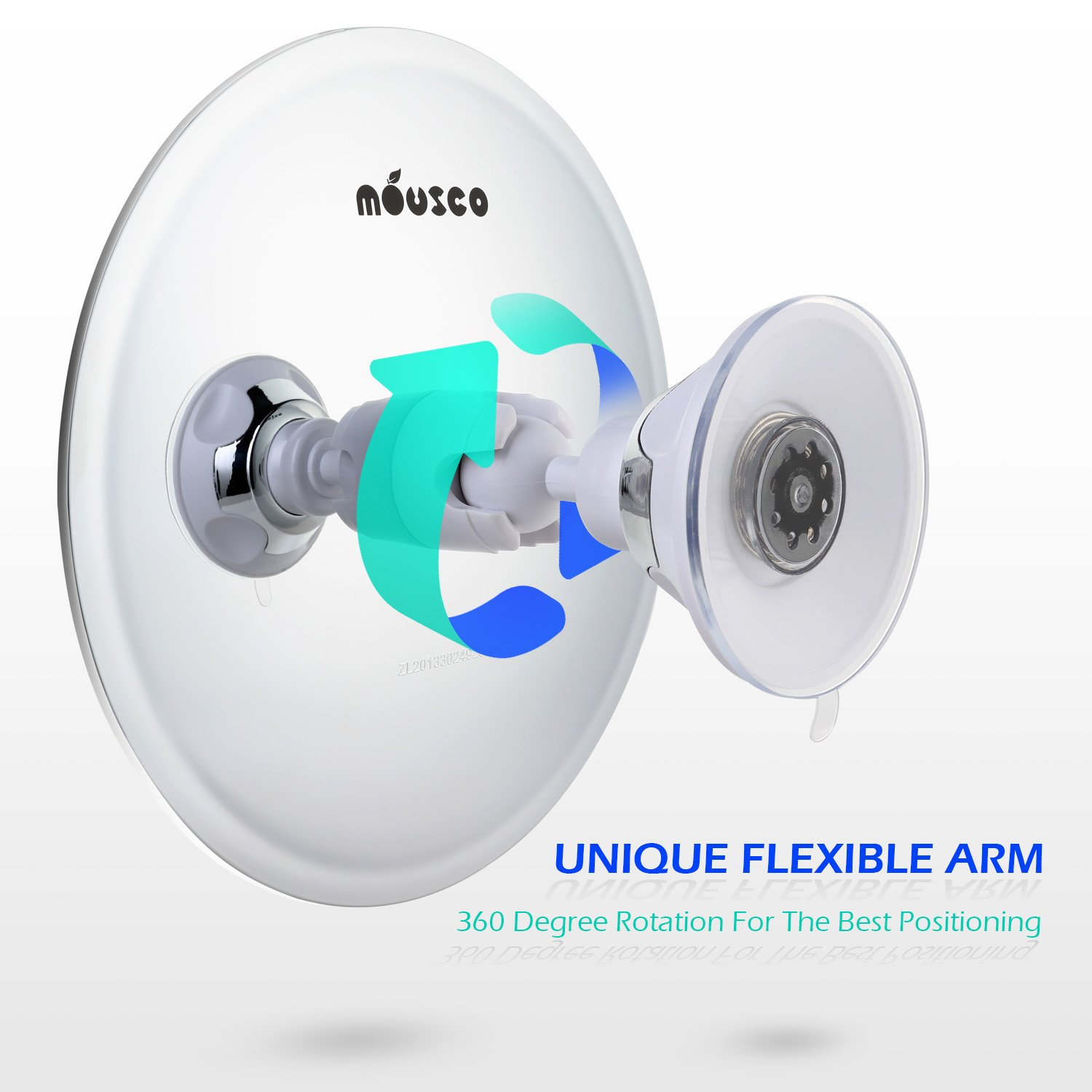 5.75 Inch Flexible Rotation Arm and Powerful Locking Suction Cup Mount Chrome Round Miusco Fogless Shower Shaving Mirror With Suction Cup Razor Holder