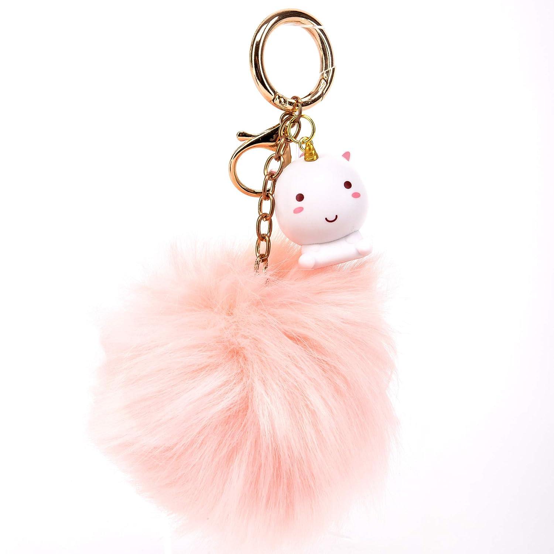 Amazon.com  Smoko Elodie Unicorn Pink Pom Pom Keychain e60c30479fef