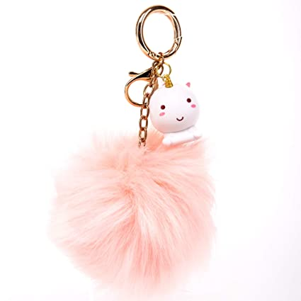 Smoko Elodie Unicorn Pink Pom Pom Keychain, Fluffy Faux Fur Ball & Cute Uni  Pendant in Kawaii Japanese Style