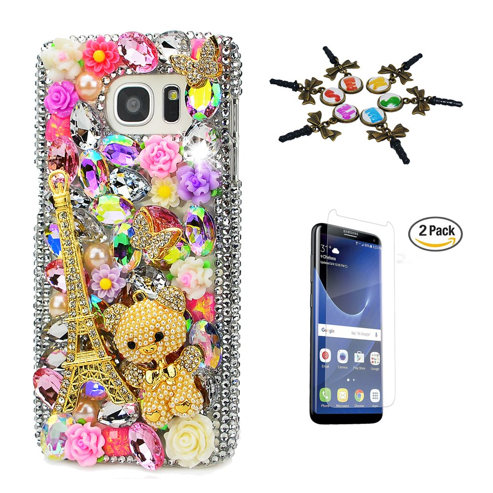STENES Galaxy Note 8 Case - 3D Handmade Luxury Crystal Eiffel Tower Bear Rose Flowers Sparkle Rhinestone Cover Bling Case for Samsung Galaxy Note 8 Retro Dust Plug & Screen Protector - Colorful