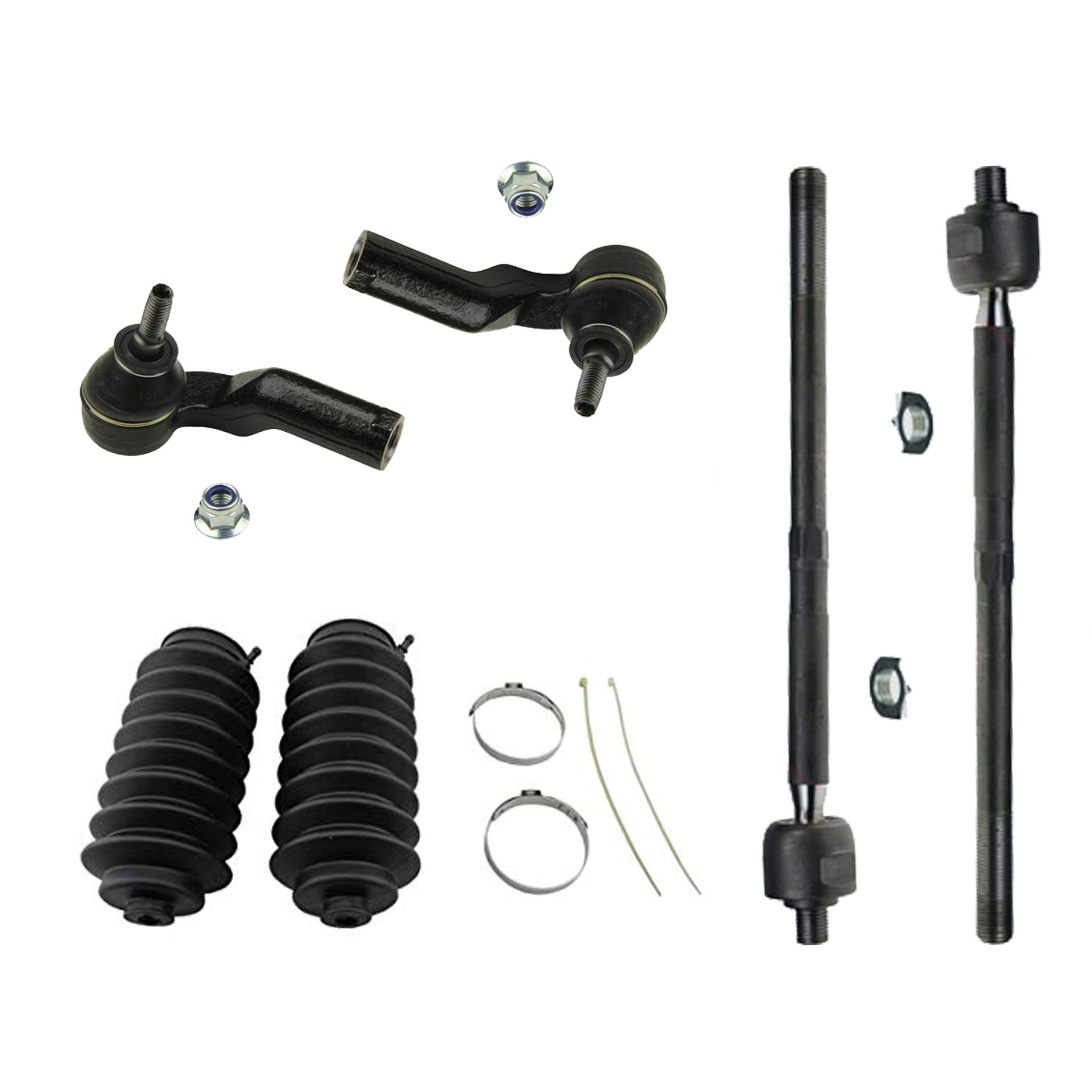 All 4 Front Inner and Outer Tie Rod End Links, New 6-Piece Front Suspension Kit 2 Detroit Axle Tie Rod Rack Boots