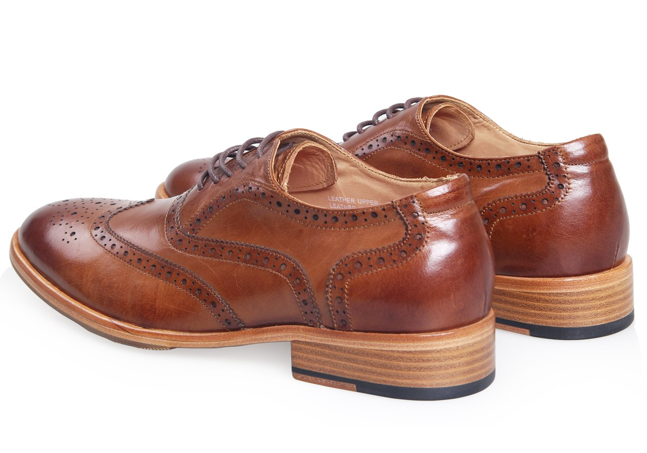 ELANROMAN Men Cap-toe Brown Leather Lining Bussiness Oxford Leather Dress Shoes for Wedding/White Collar by ELANROMAN (Image #5)
