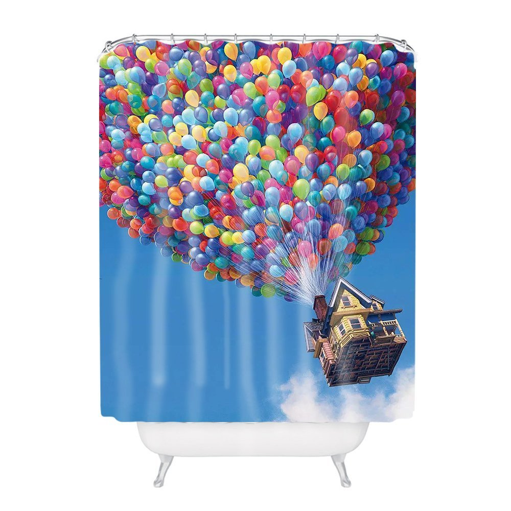 General Colorful Air Balloons Polyester Fabric Bathroom Shower Curtain 6072Inch