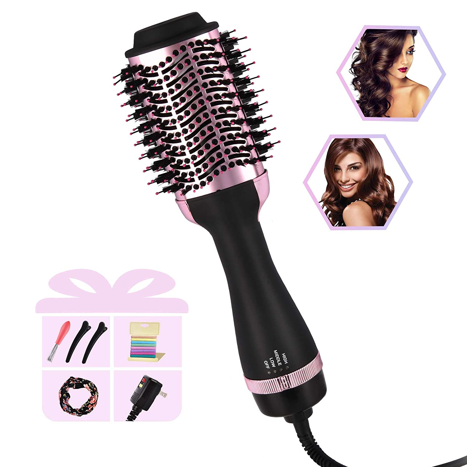 Hot Air Brush, Hair Dryer & Volumizer Brush, Hair Dryer Brush, 4 in 1 Professional Negative Ionic Ceramic Hair Styler for Salon at Home, Anti Scald Frizz-free Blow Dryer Brush