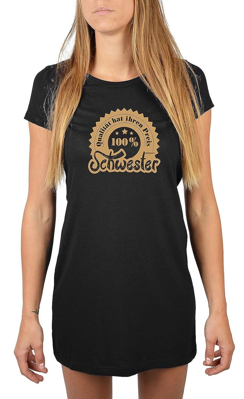 Lang geschnittenes T-Shirt für Frauen 100% Schwester Mädchen Schlafanzug Pyjama für Jugendliche Geschenkidee Sommerkleid