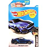 FORD SHELBY GT350R Hot Wheels 2016 Night Burnerz Series Blue Super Sport Shelby 1:64 Scale Collectible Die Cast Metal Toy Car Model #8/10 on International Long Card