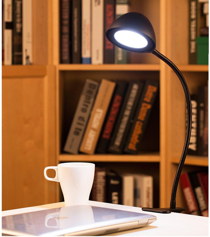 GLL® Desk Lamp Eye Care Lamp LED Book light Clip,Folding Table Lamps, Flexible Rubberized Coating Gooseneck,Flicker-Free, 5W Desk Lamp Clamp, USB Charging Port