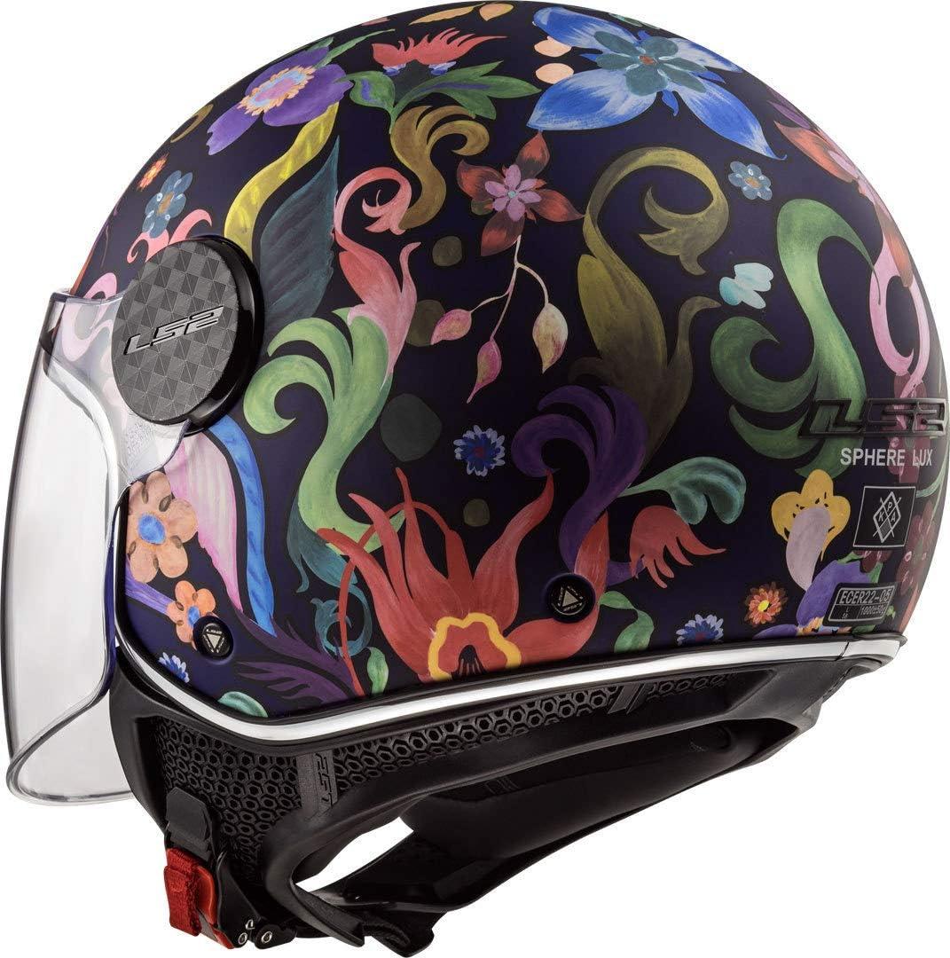 Noir//Bleu//Rose LS2 Casque moto OF558 SPHERE LUX BLOOM Bleu Rose XS