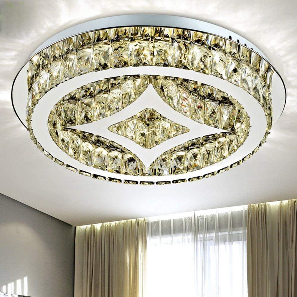 Yueyang ホームライティングホテルリビングルームヴィラLED K9 クリスタルランプLED電球付きシャンデリア天井ランプ B07DVKG68K  D80cm X H10cm
