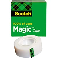 Scotch Magic Tape, 1 Roll, Numerous Applications, Invisible, Engineered for Repairing, 3/4 x 1000 Inches, Boxed (810)