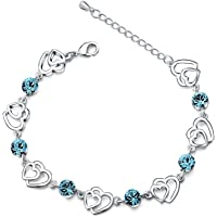 Move&Moving Silver Crystal Interlocking Heart Bracelet for Women teenage girls children Made with Swarovski Crystal, Ideal Gift for Birthdays/Christmas/Wedding, with a Gift Box