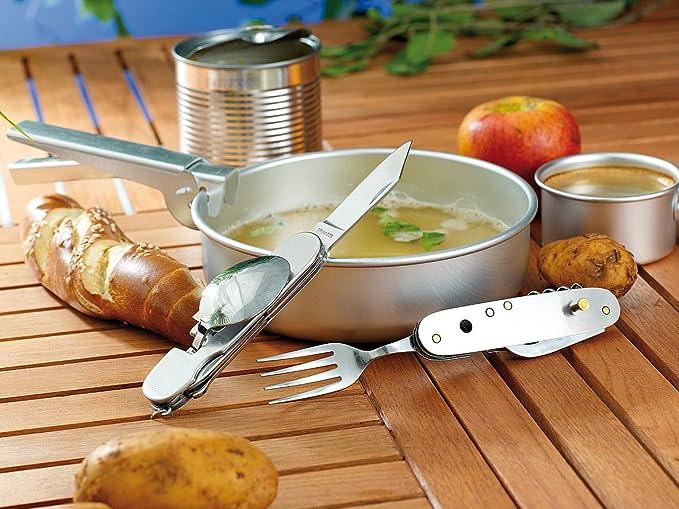 Pearl Al Aire Libre cuchillería: Cubiertos Plegables de Acero Inoxidable 9 en 1 para Acampar y al Aire Libre (Cuchillo de Bolsillo con cuchillería)