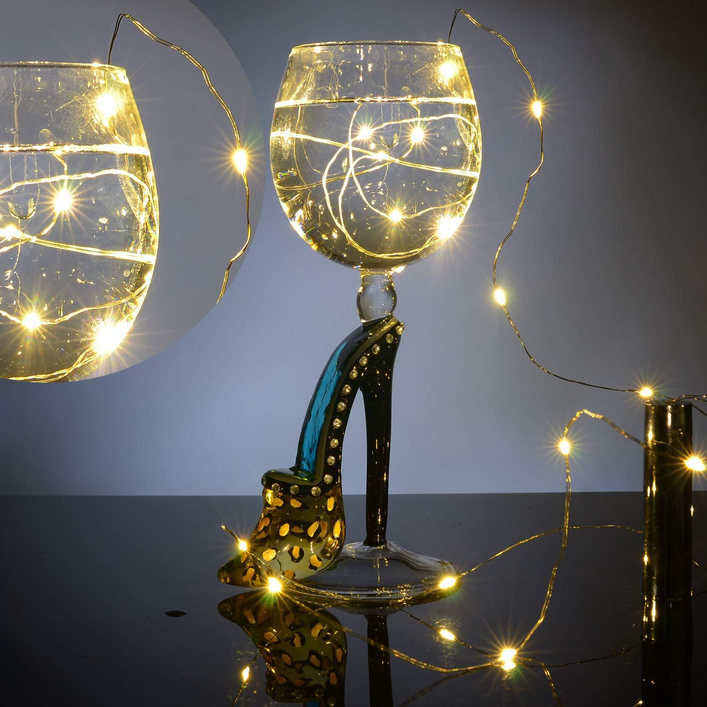 Cadena Led Luces para Botellas de Vino, 8 x 20 LEDs Guirnaldas Luminosas 2M Lámparas de Botellas Blanco Cálido, Tira de luz Tapa de Botella para ...