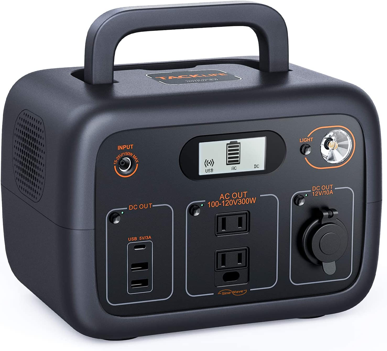 TACKLIFE 【Autumn Exclusive】 Power Station 300W, 300Wh Portable Solar Generator, Pure Sine Wave AC Outlets, Wireless Charging, 90000mAh Mobile Backup Battery for CPAP/Outdoor Camping/Outage Emergency : Garden & Outdoor