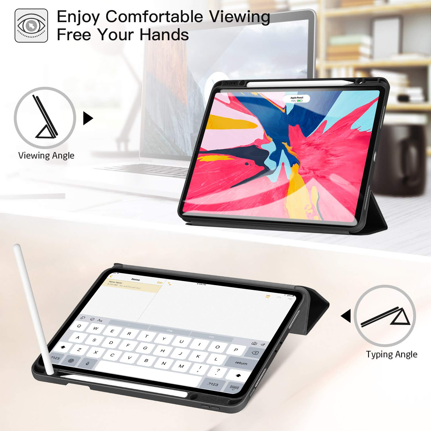 Ztotop Case for iPad Pro 12.9 Inch 2018, Full Body Protective Rugged Shockproof Case with iPad Pencil Holder, Auto Sleep/Wake, Support iPad Pencil Charging for iPad Pro 12.9 Inch 3rd Gen - Black by Ztotop (Image #7)