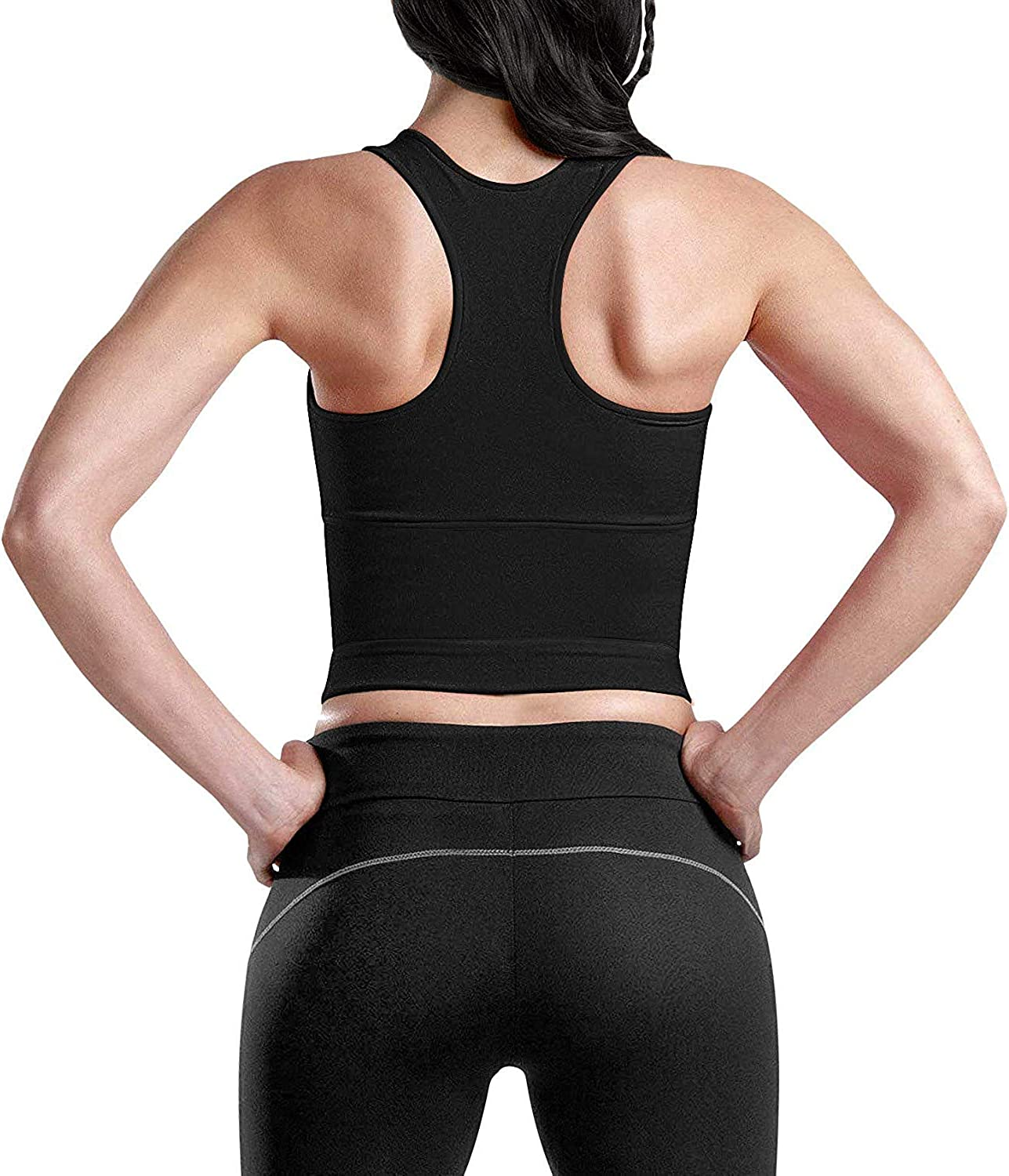 YA11888-Black-S YIANNA Women Waist Trainer Vest Zipper Sauna Suit Tank Top Hourglass Slimming Body Shaper Weight Loss Tummy Control