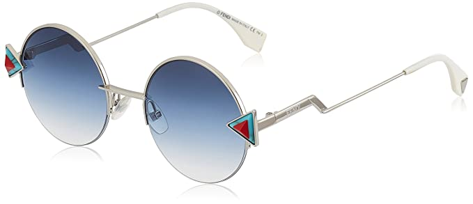 c7e16863 Amazon.com: Fendi Women's Round Sunglasses, Silver Blue/Khaki Aqua ...