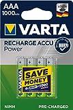Varta Rechargeable Accu Ready2Use vorgeladener AAA Micro 1000 mAh Ni-Mh Akku (4er Pack, wiederaufladbar ohne Memory-Effekt - sofort einsatzbereit)