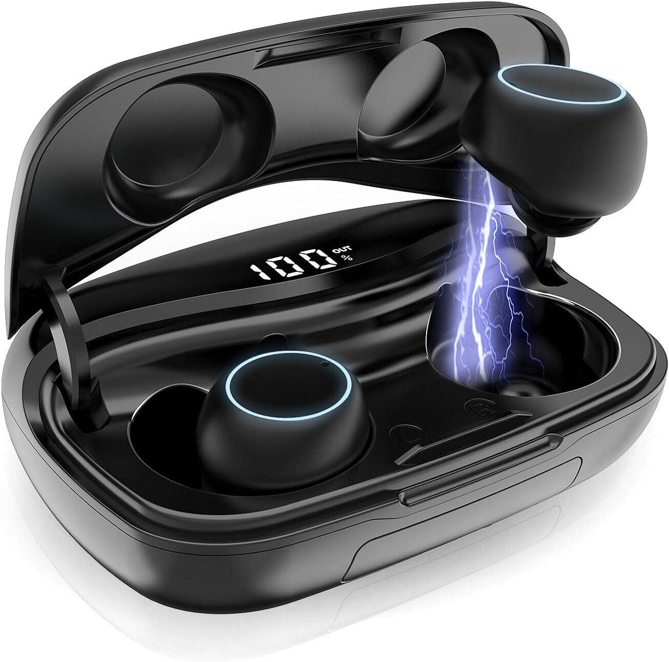 iPosible Auriculares Bluetooth, Auriculares Inalámbricos Mini Twins Estéreo In-Ear Bluetooth 5.0 Sonido Estéreo Auricular con Caja de Carga Portátil y Micrófono Integrado para iOS y Android