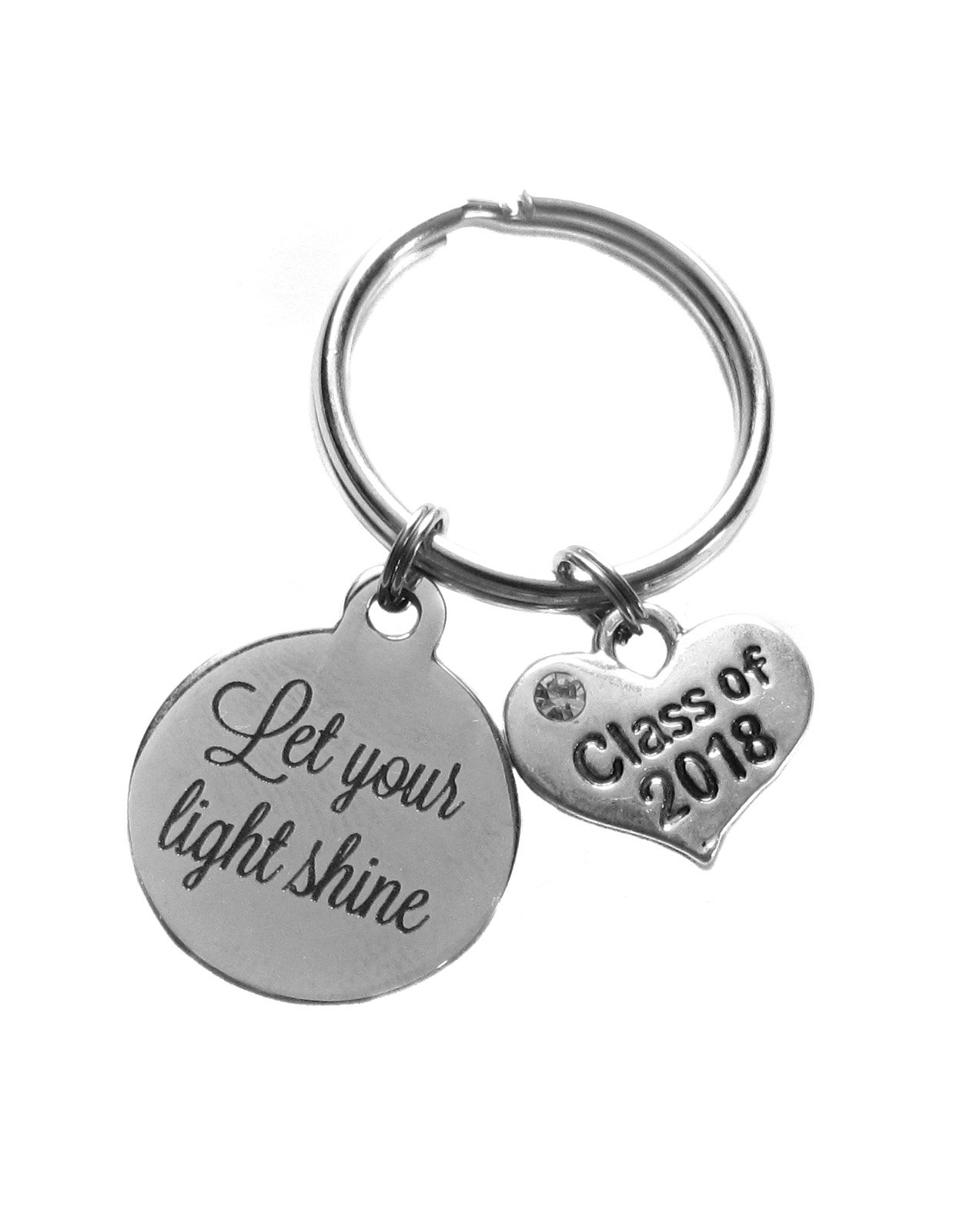 Heart Projects Let Your Light Shine Class of 2018 Charm Keychain, Bag Charm, Inspirational Graduation Gift