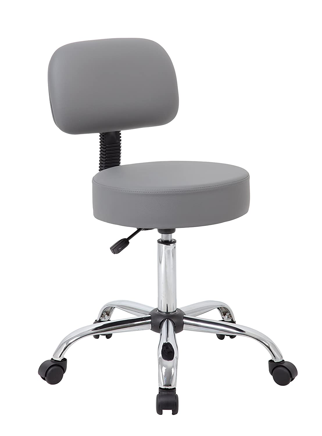 Boss Office Products Be Well Medical Spa Professional Adjustable Drafting Stool with Back, Grey