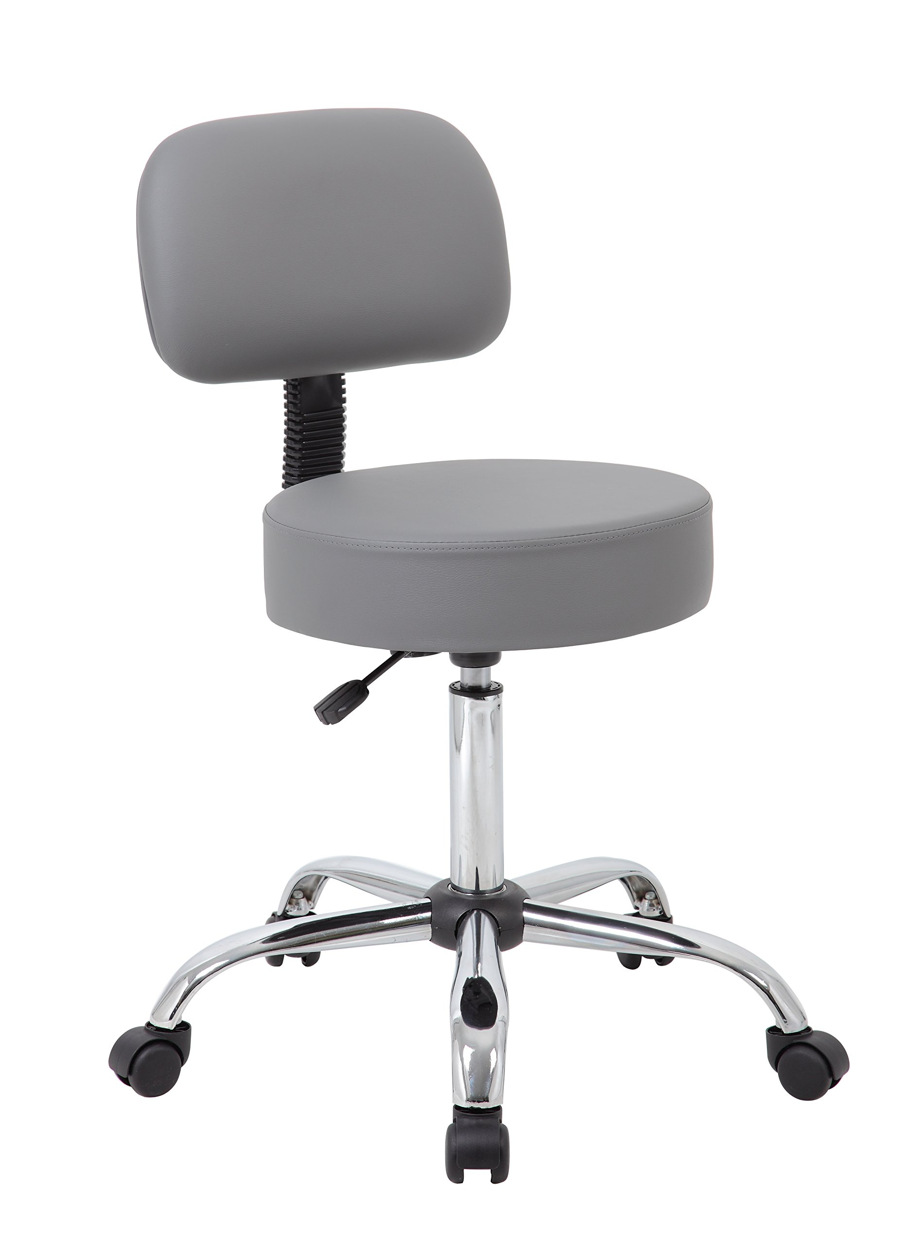 Boss Office Products Be Well Medical Spa Professional Adjustable Drafting Stool with Back, Grey by Boss Office Products