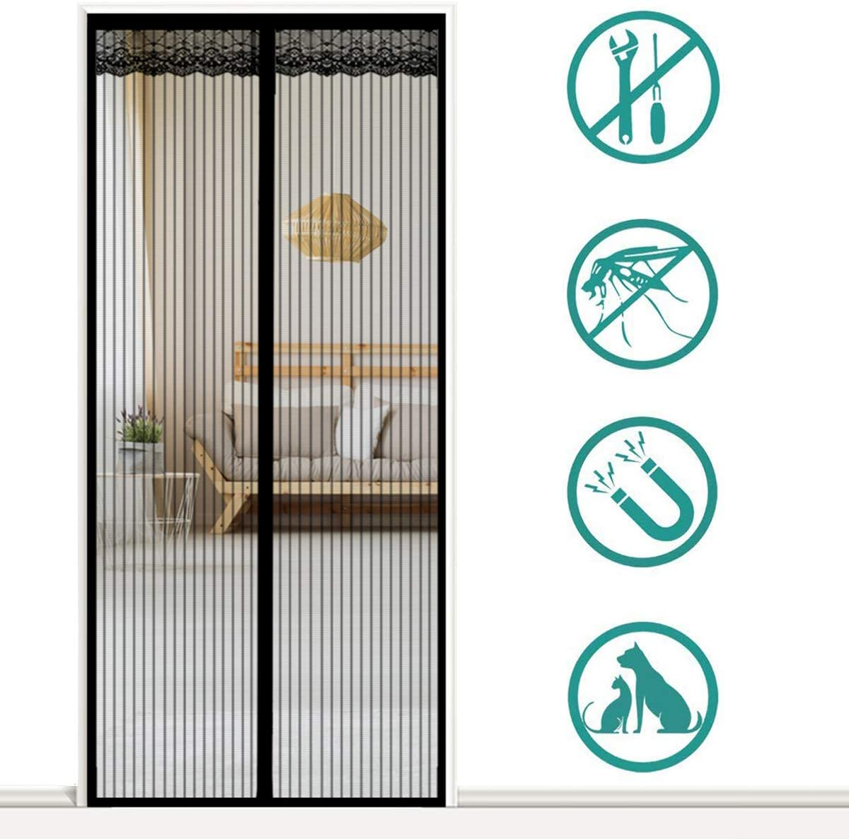 Magnetic Screen Door for Sliding Glass Door Brown 70x190cm Mesh Screen Door Anti Mosquito Bugs with Heavy Duty Mesh Curtain for Keep Bugs Fly Out