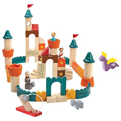 PlanToys Wooden Fantasy Blocks Building Blocks (5696) | Sustainably Made from Rubberwood and Non-Toxic Dyes and Paints | Eco-Friendly PlanWood: Toys & Games