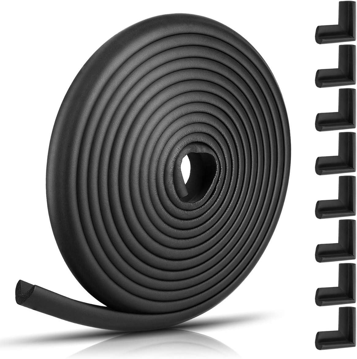 Protector negro Amortiguadores con adhesivo doble cara Navaris protectores para esquinas y bordes 1x Rollo de 6M con 8x topes para esquina