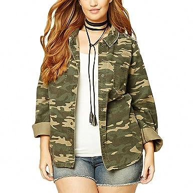 bb3de79f1a082 Huiwa Womens Denim Jacket Plus Size Lightweight Camouflage Jacket Military  Camo Print Outfits Outwear Boyfriend Denim