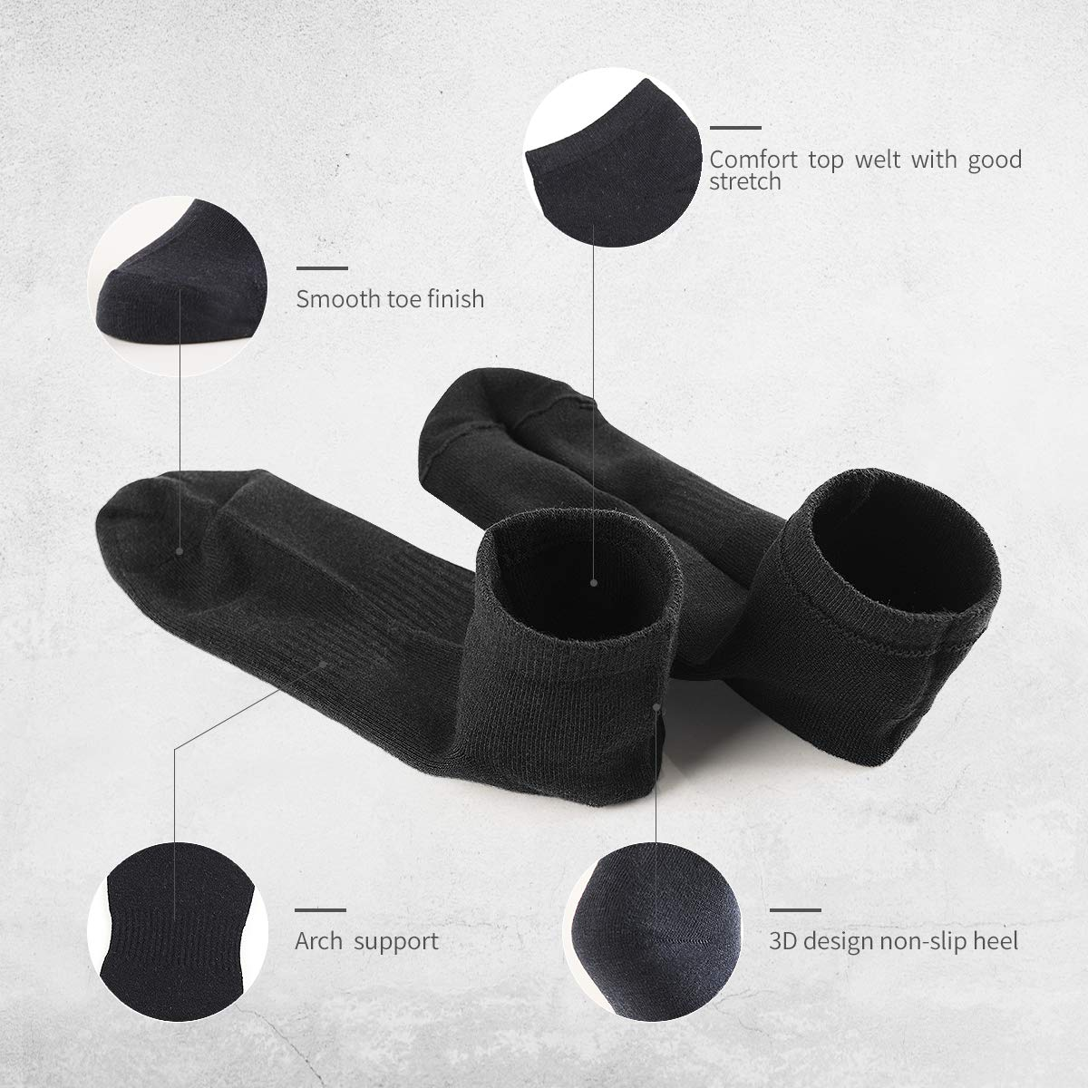 One Size Breathable Fit for Office and Outdoor Sports SOXTOWN Womens Athletic Cotton Socks -10 Pairs No Show Black Socks Arch Support