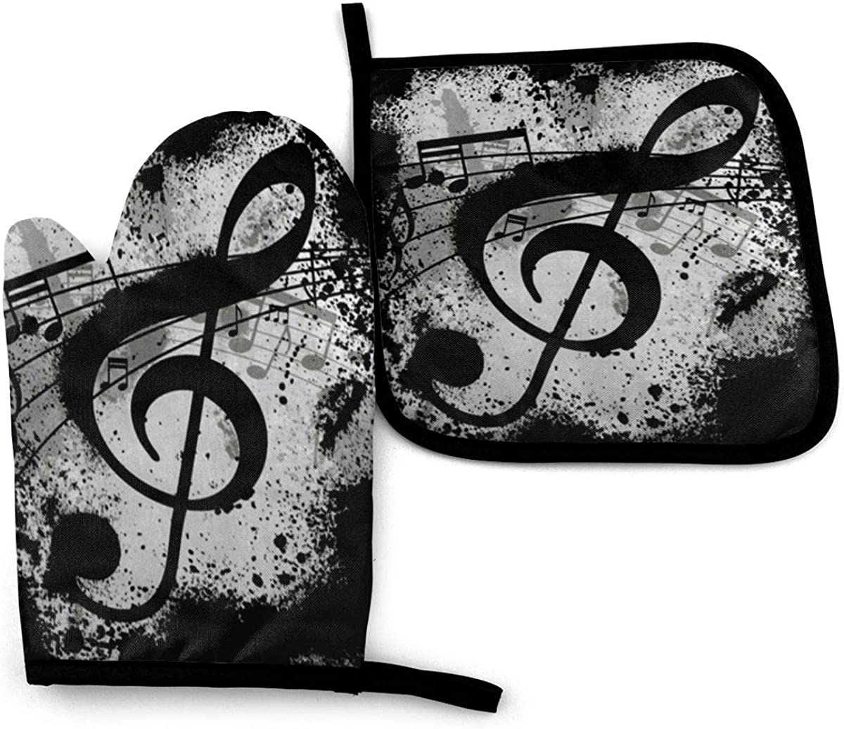 Forest Mushroom Art Paintings Oven Mitts and Potholders, Professional Heat Resistant Water-Proof Pot Holder Baking Gloves, (2-Piece Set) Black Music Note Abstract Treble Sign