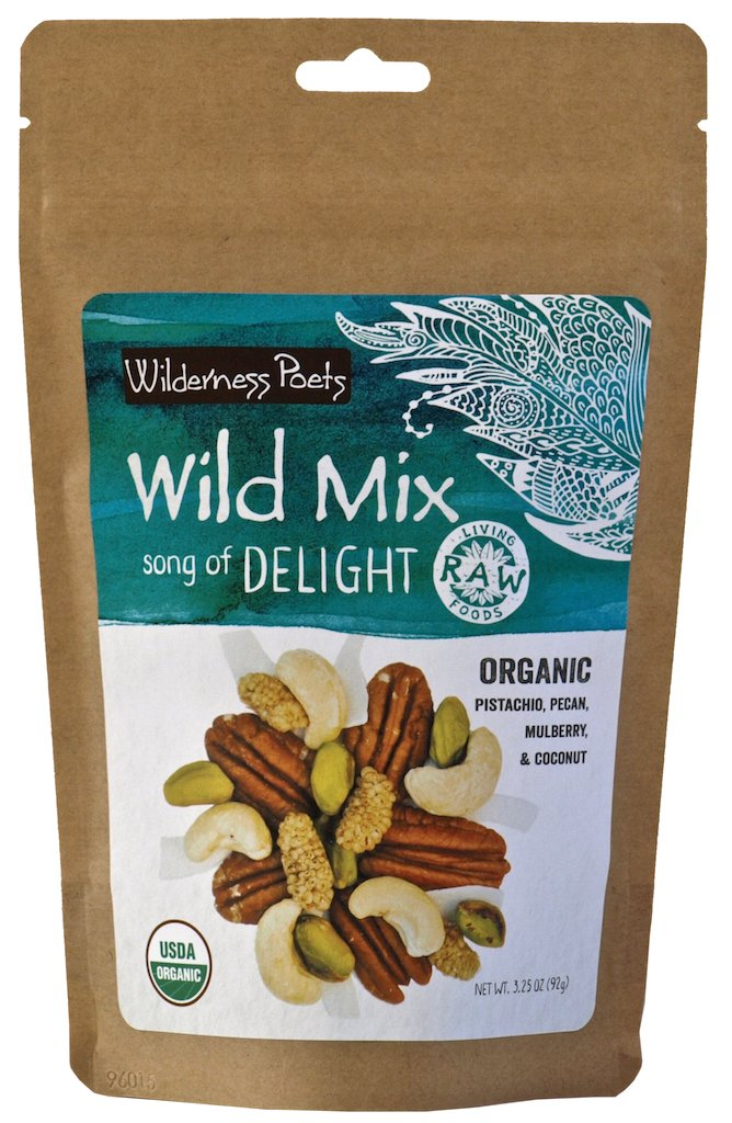Wilderness Poets, Song of Delight Wild Mix - Organic Raw Trail Mix - Pecans, Cashews, Mulberries, Pistachios, Coconut Ribbons - 3.25 Ounce