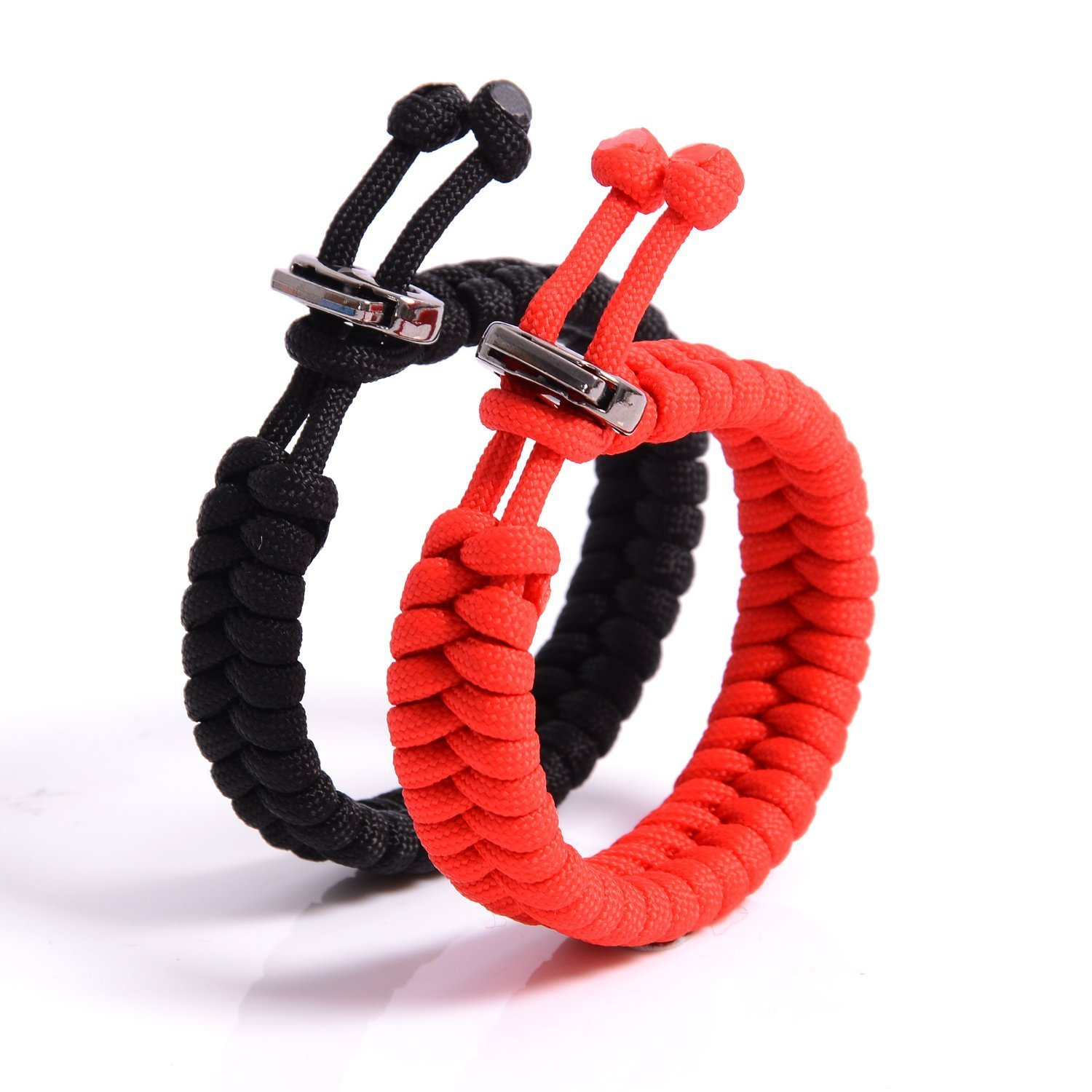 The Friendly Swede (TM) Bundle of 2 Premium Fish Tail 350 lb Paracord Bracelets With Metal Clasp - Adjustable Size Fits 7-8.5 Inch Wrist (Black + Red)