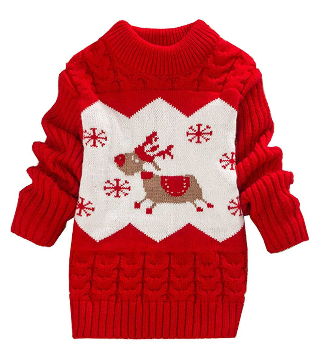 Zhuannian Baby Toddler Boy Knitted Cartoon Reindeer Christmas Pullover Sweater
