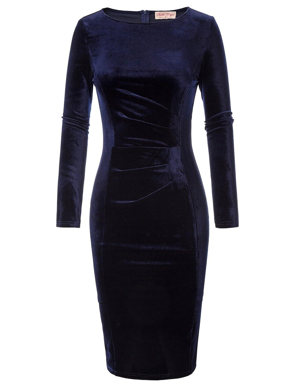 Elegante Vestido de Oficina Midi con lápiz, Manga Larga, para Damas, Negro (744-1) Mediano …