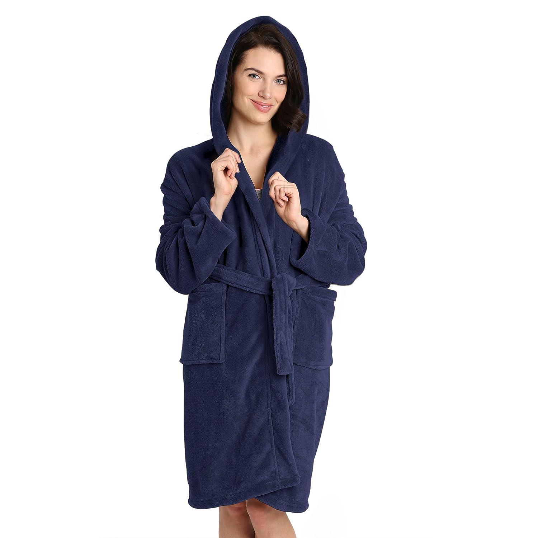 6009445cad Pembrook Ladies Robe with Hood - Plush Fleece - Kimono Wrap - Spa Bathrobe  Women