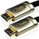 XO Platinum 1m High Speed HDMI Kabel (HDMI Typ A, HDMI 2.1/2.0b/2.0a/2.0/1.4) - 4K, 3D, UHD, ARC, Full HD, Ultra HD, 2160p, HDR - für PS4, Xbox One, Wii, Sky Q, LCD, LED, UHD, 4k Fernsehern - schwarz