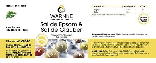Sal de Epsom & Sal de Glauber - Sulfato de magensio y sulfato de sosa - 120 cápsulas - artículo vegano - productos para salud Warnke - 138g: Amazon.es: ...