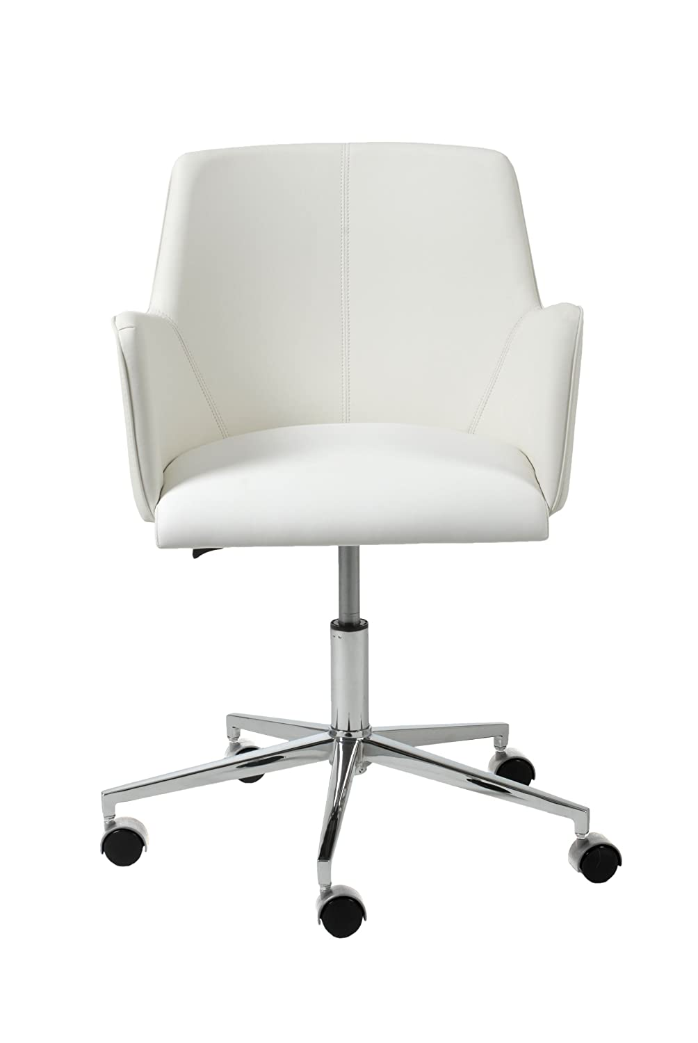 Bon Amazon.com: Euro Style Sunny Adjustable Office Chair, White Leatherette  With Chrome Base: Kitchen U0026 Dining