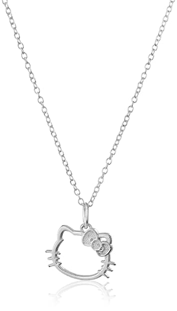 042c1b1c4 Amazon.com: Hello Kitty Disney Sterling Silver Silhouette Pendant Necklace:  Jewelry